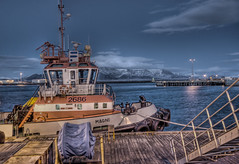 Icelandic Whaling Tug (Stuck in Customs) Tags: ocean sunset sea sky mer snow seascape mountains cold water night clouds port docks boats effects lights boat iceland ship freezing compo reykjavik arctic equipment excellent videogame roll whale tugboat icy float tones docs scent