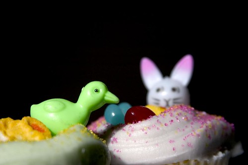 just as the bunny suspected, the duck wants to eat his shiny jelly beans