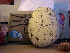 Time (Lizette Greco) Tags: clock kids illustration toys time recycled embroidery drawings plushies softies reloj greco lizette arttoys lizettegreco grecolaborativo