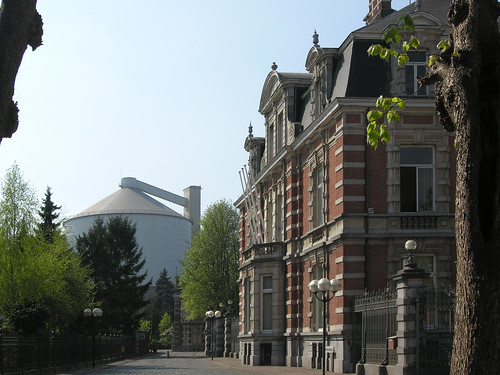 Moerbeke town hall and sugar factory, Belgium