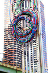 Fotolog07056 (roy_v) Tags: blue red holiday newyork green colors wire manhattan cable wires telephonewires
