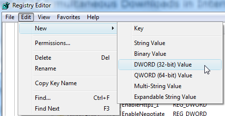 Create a new 32 bit DWORD using the registry editor