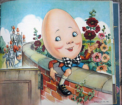 Humpty-Dumpty (imwithsully) Tags: flowers brick wall illustration vintage book jester ephemera fairy nostalgic knight humpty dumpty storybook childrensbooks vintagechildrensbook