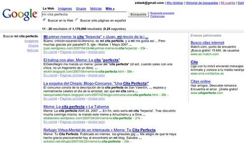 Prueba de apariencia de resultados de google
