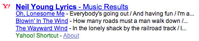 Yahoo Lyrics in Search Results
