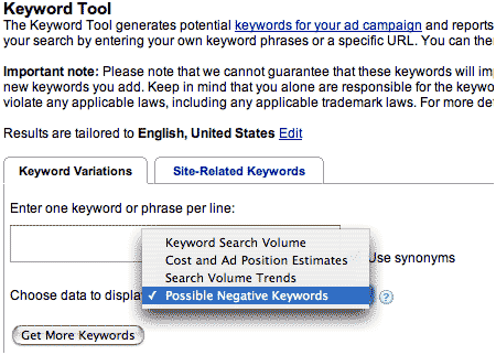 Google Keyword Tool Negative Words