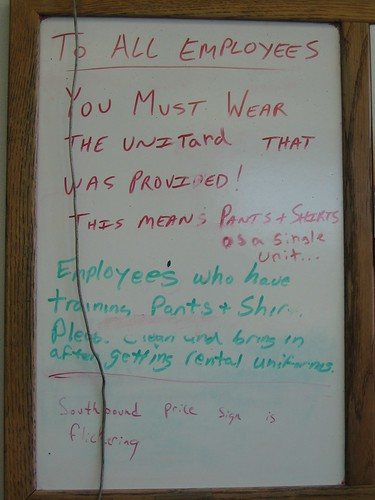 To all employees: You must wear the unitard that was provided! This means pants + shirts as a single unit...