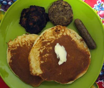 pancakes, zucchini pancake, veggie sausage patty, veggie sausage link