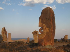 077 the Living Desert (Parkaboy) Tags: summer sculpture art rock stone clouds circle bush rocks dusk stones horizon australia bluesky newsouthwales outback remote aboriginal shape brokenhill livingdesert barrierranges sculpturesymposium bajoelsoljaguar sundownhill underthejaguarsun