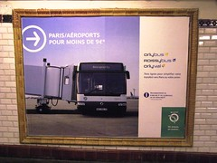 Bus to the Airport (brunoboris) Tags: paris poster airport publicidad metro métro ad advertisement advert transportencommun jetway publicité ratp passageway métroparisien orlyval roissybus orlybus parisaeroportspourmoinsde9euros