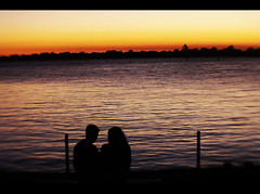 Well I jumped into the river (gustavosilent) Tags: light sunset sky sun love river couple