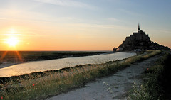 Mont St Michel with setting sun