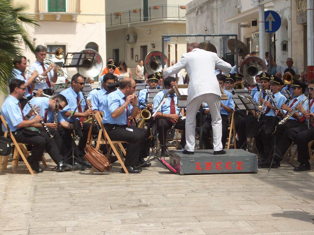 A street band celebrating San Rocco- Italy