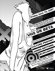 VHS or BETA - 06/15/07 Event Poster (dokusentia) Tags: party girl rock club naughty dance bush erotic comic ad manga erotica retro popart strip 80s nightlife subliminal grayscale vector lineart kinky polkadot kink corel coreldraw vhsorbeta arouse dokusentia