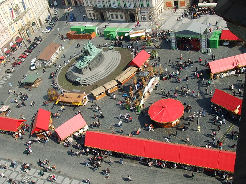 The Easter market in Staromestské námestí (Old Town Square) taken from the top of the clock tower.