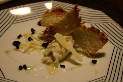 Gorgonzola, white chocolate, olive, and honey.  With bread