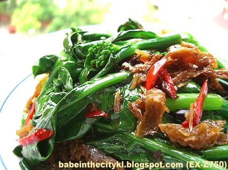 stir fry HK kailan with fried dace with salted black beans 01