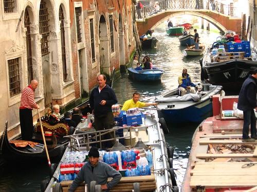 Traffic jam in Venice, Italy