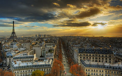 Last Breath of a fading Sun Over Paris HDR (II)   Paris City, France  Paris skyline roofs   eiffel tower   tour eiffel   davidgiralphoto.com