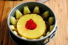 Filling a Mini Pineapple Upsidedown Cake