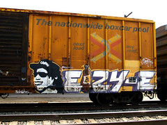 memorial (TRUE 2 DEATH) Tags: railroad portrait streetart ontario dedication train graffiti memorial riverside compton graf flash railcar tribute boxcar rap gangsta railfan freight nwa 40oz eazye gangstarap 7350 benching