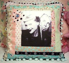 The most incredible custom/handmade patchwork photo pillow by Jen Duncan!! (holiday_jenny) Tags: pink white black floral photo aqua photobooth handmade pastel sewing pillow polkadots fabric button patchwork pompoms sewn
