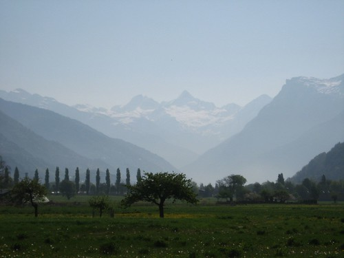Mountains up the valley as seen from Visp, Switzerland