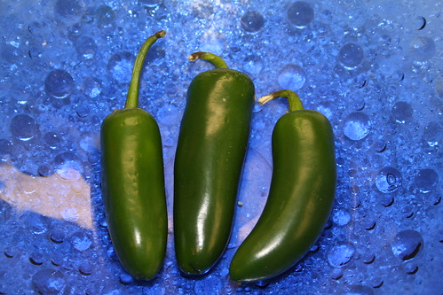 Peppers in Blue Bowl