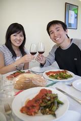 Joseph and Louisa having dinner in the Honeymoon Suite