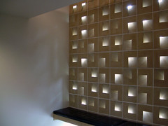 Light wall at St. John's Abbey Guesthouse designed by VJAA