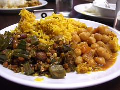 Lamb Biryani with Okra and Chickpea curries - Copper Chimney Jom Makan