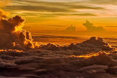 Sunrise in the Heavens (tengtan (away awhile)) Tags: red sky colors clouds sunrise colours bright altitude flight photofriday heavens extraordinary lensday airliner favemegroup4 auselite colourartaward