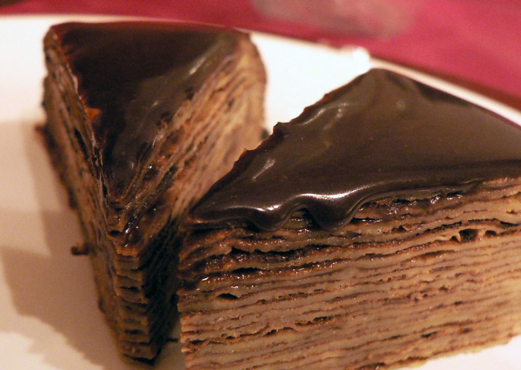 chocolate mille crepe cake (homemade)
