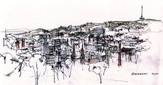 Stuttgart (Flaf) Tags: pencil view stuttgart drawing weinsteige