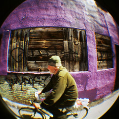 la maison hante (-Antoine-) Tags: house canada man film bike wall analog 35mm square lomo montral quebec montreal haunted fisheye qubec mauve analogue maison bicyclette mur velo vlo hauntedhouse bicyle barbu carr gauchetire hante delagauchetiere maisonhante gauchetiere delagauchetire maisonhantee antoinerouleau