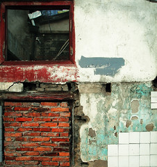 Wall (avezink) Tags: china detail building brick texture window wall contrast tile square grid shanghai decay parts demolition crop segment through smashed