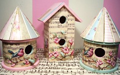 Mother's Day birdhouses (hand painted birds and flowers over vintage sheet music) (holiday_jenny) Tags: pink flowers music bird art floral collage glitter sepia vintage spring aqua branch country cottage tan may birdhouse gift papers handpainted sheet chic mothersday 2007 birdhouses shabby