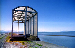 The bus shelter at the edge of the ocean (Rachael Ashe) Tags: ocean sky water vancouver springtime ionabeach