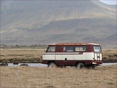 UAZ Camper Van (Observe The Banana) Tags: old mountain field grass car truck iceland rust snorkel 4x4 4wd vehicle van camper uaz
