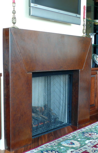 Contemporary Mild Steel Fireplace Surround,with a Burnished Rust finish, Designed for The Coyne's