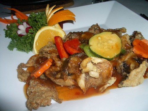 crispy mushroom in sweet and sour sauce