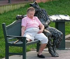 Look out, Grandma... (Andri) Tags: old sleeping rio lady cat bench md funny maryland gaithersburg andrei  furrypervertmolestingtheelderly