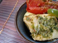 tomato potatoes and swordfish charmoula