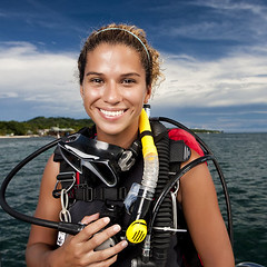 9 (bojanivan) Tags: 20s 2530 enjoyment female fun happy headandshoulders horizontal leisure lookingatcamera ocean outdoors person philipino portrait professional recreation roatan scubadiving smiling techdiving tropical vibrant water watersports wetsuit woman