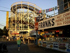 Coney Island Cyclone and Franks, late in the afternoon. (stevesobczuk) Tags: newyorkcity brooklyn coneyisland cyclone deathdefying widowmaker surfave woodenrollercoaster jawrattling