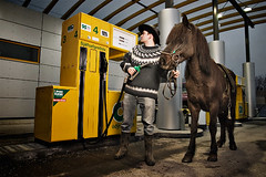 Fueling Up (oskarpall) Tags: horse station iceland gas oskar weeklysurvivor fuel sland jesters skar hestur bensnst bensn