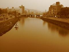 Hiroshima a bomb dome (jasonkrw) Tags: park japan sepia river peace hiroshima peacepark abombdome  genbaku genbakudome