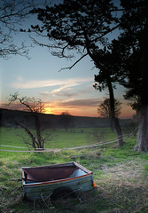 Abandoned trailer in a field at sunset (jimmedia) Tags: sunset west beach wales river kirby dee mersey wirral