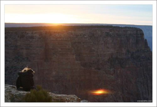 A Couple enjoying the Sunset at Grand Canyon
