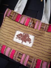 Tree Patch Handbag (supastarr) Tags: pink brown tree recycled handmade fabric silkscreen patch applique handbag supastarr